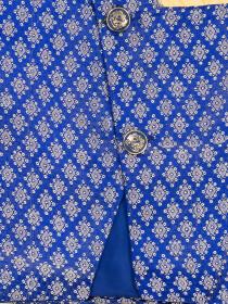 BLUE JAMAWAAR WAIST COAT FOR BOYS - DIAGONAL CUT-10160