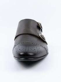 Men's Leather Grey Double Monk Wingtip Dress Shoe