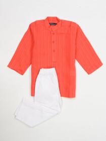 PEACH DORIYA KURTA & TROUSER DRESS FOR BOYS