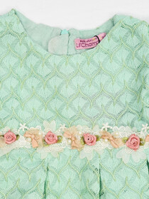 AQUA COTTON NET DRESS FOR BABY GIRLS- 10141