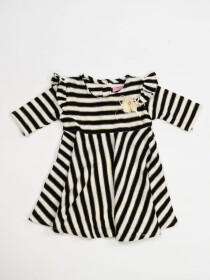 BLACK AND WHITE STRIPED DRESS FOR GIRLS-10421
