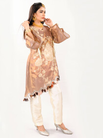 Stitched Embroidered Flip Cut Stylish Top
