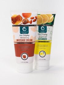 Whitening Massage Cream and Double Action Cleanser Pack