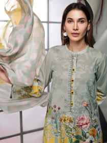 Pistachio Green Printed Lawn Unstitched 2 Piece Suit for Women