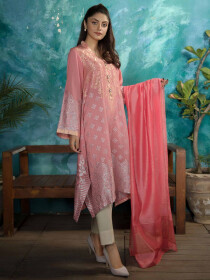 Pink Printed Jacquard Unstitched 2 Piece Suit for Women
