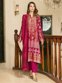 Dark Pink Printed Jacquard Unstitched 2 Piece Suit for Women