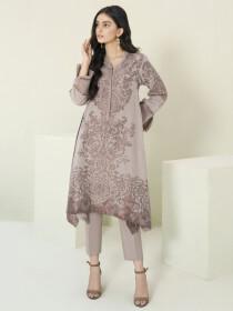 Medium Beige Printed Jacquard Unstitched 2 Piece Suit for Women
