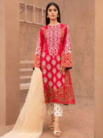 Red Printed Lawn Unstitched 3 Piece Suit for Women