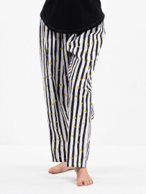 Women Black& White LiningCotton Relaxed Pajama