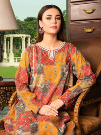 Red Printed Lawn Unstitched Shirt for Women