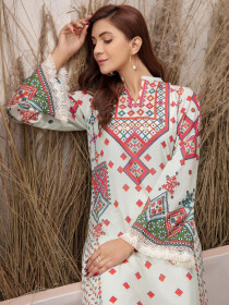 Off White Printed Lawn Unstitched Shirt for Women