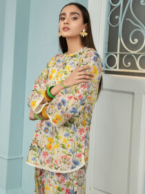 White Printed Lawn Unstitched Shirt for Women