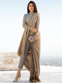 Grey Printed Lawn Unstitched 2 Piece Suit for Women