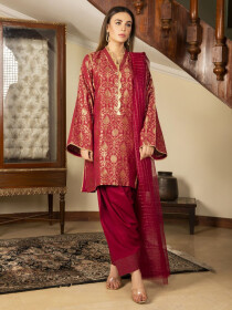 Red Printed Jacquard Unstitched 2 Piece Suit for Women