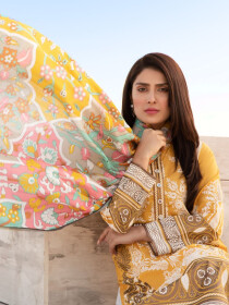 Yellow Printed Lawn Unstitched 2 Piece Suit for Women