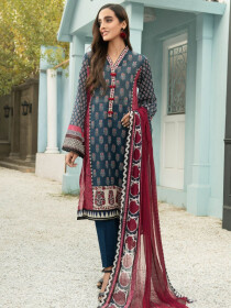 Blue Printed Lawn Unstitched 2 Piece Suit for Women