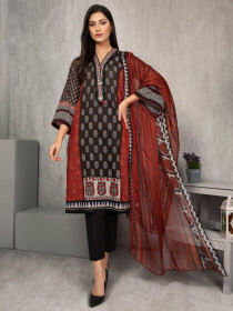 Brown Printed Lawn Unstitched 2 Piece Suit for Women