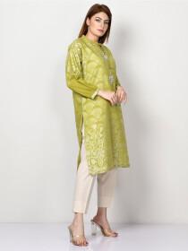 Green Printed Embellished Jacquard Shirtfor Women