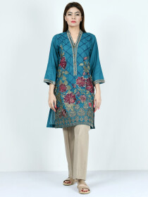 Peacock Blue Printed Embroidered Lawn Shirt for Women