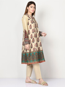 Cream Printed Embroidered Lawn Shirt for Women