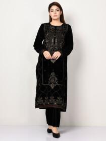 Black Printed Embroidered Velvet Shirt for Women