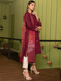 Maroon Printed Embroidered Slub Khaddar2 Piece Suit for Women