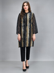 Black Printed Embroidered Embroidered Organza Shirt for Women