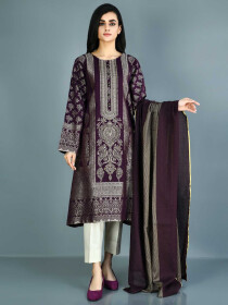Maroon Printed Embellished Jacquard Suit2 Piece for Women
