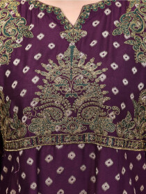 Purple Printed Embroidered Jacquard Frock for Women