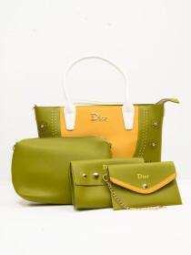 Stylish Glow Green Pattern Ladies Bags