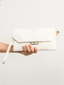 Women White  Small Wallet Clutch Cellphone Purse