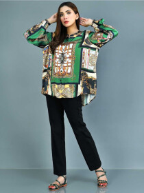 Green Printed Silk Stitched Top for Women
