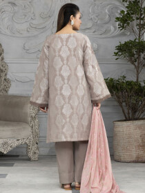 L-Beige Printed Lawn Unstitched 2 Piece Suit for Women