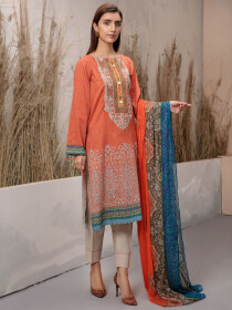Orange Printed Lawn Unstitched 2 Piece Suit for Women