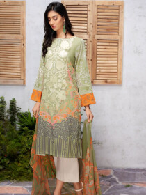 L-Green Printed Lawn Unstitched 2 Piece Suit for Women