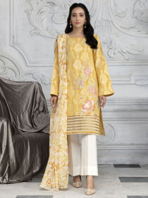Yellow Printed Jacquard Unstitched 2 Piece Suit for Women