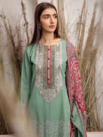 Green Printed Lawn Unstitched 2 Piece Suit for Women