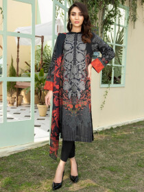 Black Printed Lawn Unstitched 2 Piece Suit for Women