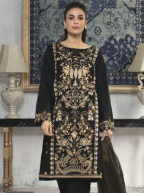 Black Printed Lawn Unstitched 3 Piece Suit for Women