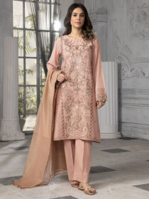 T-Pink Printed Lawn Unstitched 3 Piece Suit for Women