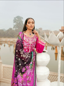 Pink Printed Fully  Embroidered 3 Piece Luxury Lawn Suite
