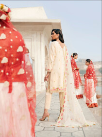 Cream Printed Fully  Embroidered 3 Piece Luxury Lawn Suite