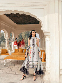 Grey Printed Fully Embroidered 3 Piece Luxury Lawn Suite
