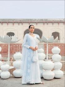 Blue Printed 3 Piece Luxury Lawn Suite