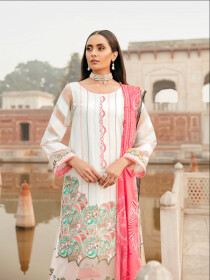 White Printed 3 Piece Luxury Lawn Suite
