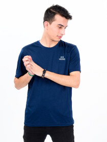 Men's Navy Blue Custom Fit Crew Neck T-Shirt