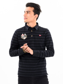 Men's Long Sleeve Rugby Grey Stripe Black Shirt with Twill Collar