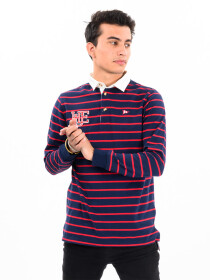 Men's Long Sleeve Rugby Red Stripe's Navy Blue Shirt with Twill Collar