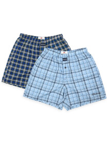 Men's Light Blue & Navy Blue Woven Check Boxers Shorts With Button Fly Pack of 2
