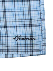 Men's Light & Navy Blue Woven Check Boxer Shorts With Button Fly - Pack of 2